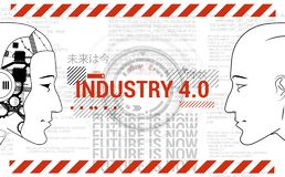 Industry 4.0 concept banner. Robot and human