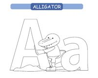 Letter A and funny cartoon alligator. Animals alphabet a-z. Cute zoo alphabet in vector for kids learning English vocabulary. Colo