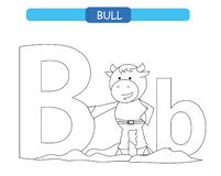 Letter B and funny cartoon bull. Animals alphabet a-z. Cute zoo alphabet in vector for kids learning English vocabulary. Coloring