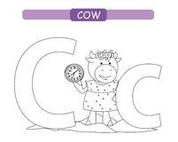 Letter C and funny cartoon cow. Animals alphabet a-z. Cute zoo alphabet in vector for kids learning English vocabulary. Coloring p