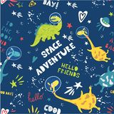 Beautiful seamless vector background space adventure