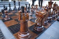 ฺฺWooden Big Chessboard set Royalty Free Stock Photos