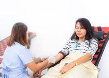 Asian girls scared blood needle and crying. Blood transfusion procedure. stock images