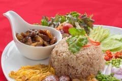 ข้าวคลุกกะปิ Fried rice with shrimp paste. Fried rice is a thai food ,eat with many kinds of food accessary Royalty Free Stock Photography