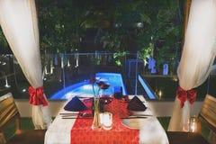 à¸'Set таблица для обедающего с стилем модели вина романтичным около бассейна на гостинице Стоковое Изображение RF