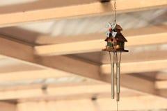 ็Hanging mobile home decoration. A decoration made of small objects tied to wires or string and hung up so that the objects move when air blows  around them Royalty Free Stock Photos