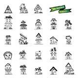 ็Houses doodle , icons Stock Photography