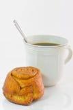 ฺฺbakery面包和咖啡在白色背景 图库摄影