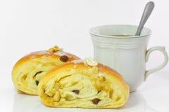 ฺฺBakery面包和咖啡在白色ba 库存照片