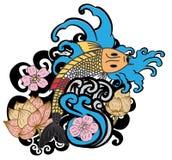 à ¹ ‰手拉的Koi鲤鱼日本纹身花刺样式 免版税图库摄影
