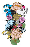à ¹ ‰手拉的Koi鲤鱼日本纹身花刺样式 免版税库存照片