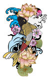 à ¹ ‰手拉的Koi鲤鱼日本纹身花刺样式 库存照片