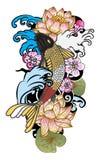 à ¹ ‰ Hand gezeichnete Koi Carp Japanese-Tätowierungsart Stockfotos