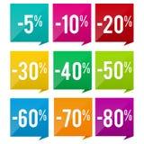 5% à 80%  Bannière d'insigne de vente et de prix discount Images libres de droits