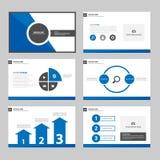 ฺBlue Infographic Czarni Wielocelowi elementy i ikony prezentaci szablonu płaskiego projekta broszurki ustalony reklamowy marke Zdjęcie Royalty Free