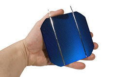 À cellules solaires tenu dans la main photographie stock libre de droits
