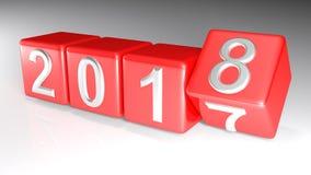 2017 à 2018 cubes changeants - rendu 3D Photographie stock