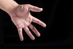 à ¹ ‰ Hand auf schwarzem Hintergrund Stockfotos