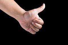 à ¹ ‰ Hand auf schwarzem Hintergrund Lizenzfreie Stockfotografie