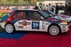 À haute fréquence de DELTA de LANCIA 4WD 1986 dans le vieux rassemblement de voiture de course LA LÉGENDE 2017 Images stock