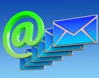 À l'email d'expositions d'enveloppe de signe sur le Web illustration de vecteur
