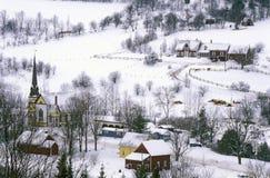 À l'est orange, VT couvert dans la neige pendant l'hiver Images libres de droits