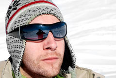 À l'extérieur homme de l'hiver Photographie stock