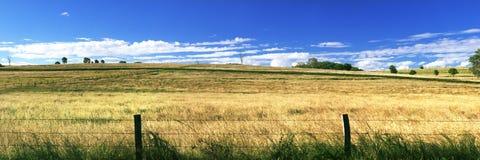 À l'intérieur agricole et champ de ferme Image libre de droits