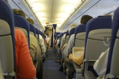 À l'intérieur d'un avion Image stock