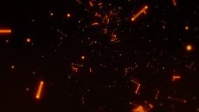 À l'intérieur d'un espace 3D des points et des lignes oranges faites une boucle le fond de mouvement