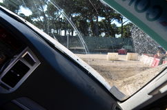 À l'intérieur d'une voiture pendant un événement 4x4 Photographie stock libre de droits