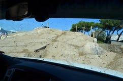 À l'intérieur d'une voiture pendant un événement 4x4 Photo stock