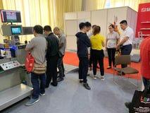 À l'intérieur de l'exposition des imprimantes et des matériaux d'impression - Hanoï, le Vietnam le 21 mars 2018 photo stock