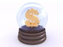 $ à l'intérieur de la boule de neige en verre Photos stock