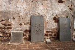 À l'intérieur de la ruine antique de l'église de St Paul au Malacca photo stock