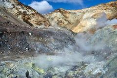 À l'intérieur du cratère du volcan de Mutnovsky Image libre de droits