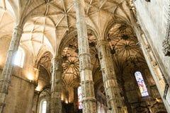 À l'intérieur du monastère de Jeronimos (Lisbonne, Portugal) Images stock