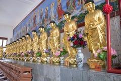 À L'INTÉRIEUR DU TEMPLE : OR DEBOUT BUDDHAS Photos libres de droits