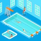 À l'intérieur piscine avec les nageurs, le sauveteur et le jacuzzi Personnes isométriques Photographie stock libre de droits