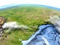 À l'ouest de l'Amérique du Sud sur terre - fond océanique évident Image stock