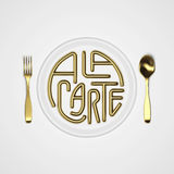 À la carte Citaat Typografische Achtergrond met vork en messen 3D teruggevende 3D illustratie Stock Foto's