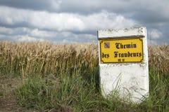 À la frontière entre la Belgique et les Frances photo stock