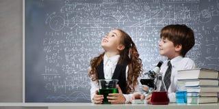 À la leçon de chimie Photo libre de droits