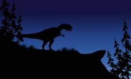 À la silhouette de nuit de l'Allosaurus Photo stock