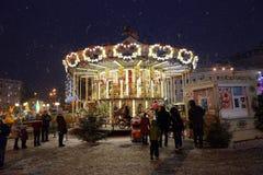 à la veille de 2016 nouvelles années à Kiev Images stock