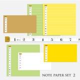 ืle papier de note a placé la couleur 5 différente avec des illustrations de vecteur de bande de mesure Images libres de droits