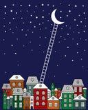 À lua e à ilustração traseira do vetor Cidade velha, céu noturno, escadas à lua no fundo azul Ilustração Stock
