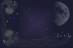 À lua e à parte traseira Fotografia de Stock
