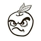 À main levée pomme fâchée dessinée noire et blanche illustration stock