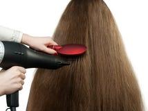 À menina com hairdress longos da pilha do cabelo imagem de stock